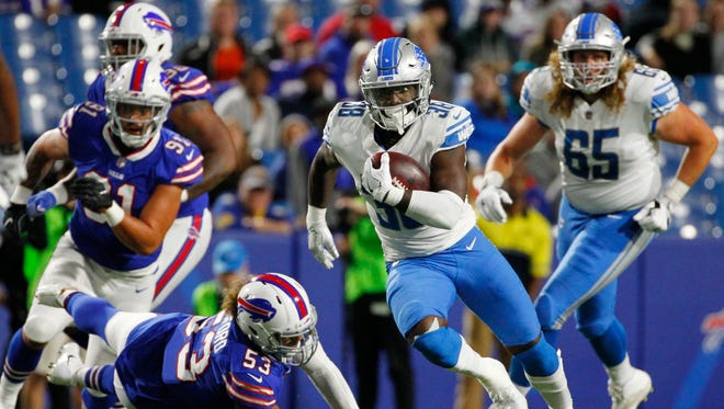 Lions' Tion Green runs for a 74-yard touchdown in the second half against the Bills on Thursday, Aug. 31, 2017, in Orchard Park, N.Y.