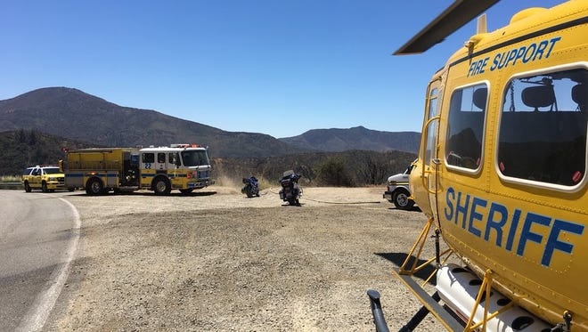 A motorcyclist was rescued by helicopter after going over the edge of Highway 33 above Ojai Sunday.