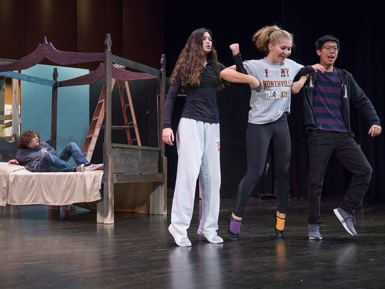 As Marley predicted. Scrooge's sleep is disturbed by three spirits ( Giovanna Reyes, Corrine Kissel, and Addison Zhang).