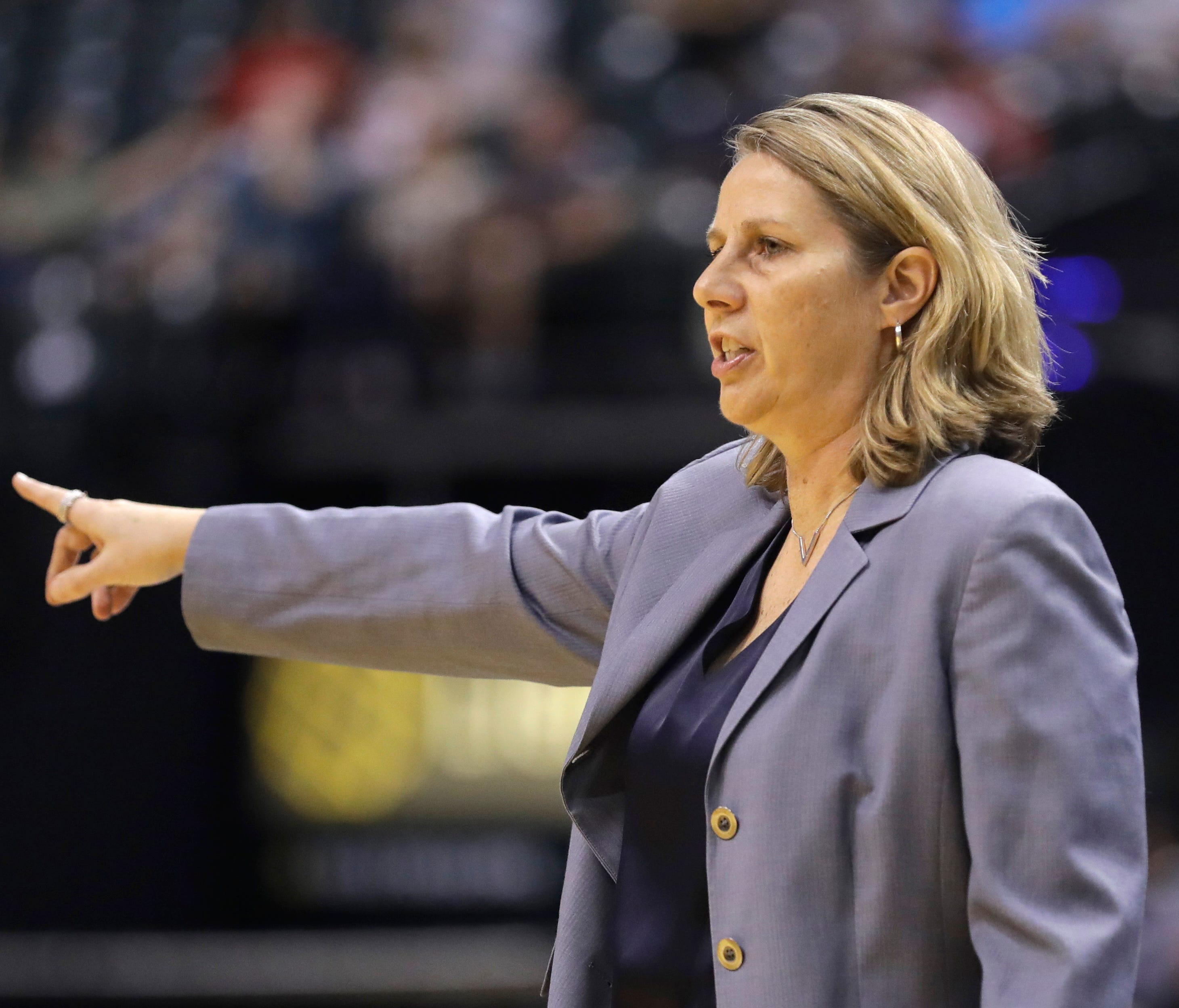 Minnesota Lynx coach Cheryl Reeve calls a play during the first half of the team's WNBA basketball game against the Indiana Fever, Wednesday, Aug. 30, 2017, in Indianapolis. (AP Photo/Darron Cummings)