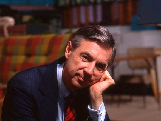 "Fred Rogers on the set of his show ""Mister Rogers' Neighborhood"" from the film ""Won't You Be My Neighbor?"""
