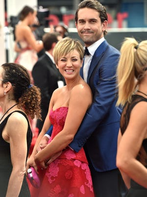 Kaley Cuoco and tennis player Ryan Sweeting attend the 66th Annual Primetime Emmy Awards held at the Nokia Theatre L.A. Live on August 25, 2014 in Los Angeles, California.