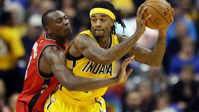 Indiana Pacers center Jordan Hill came off the bench Monday night to finish the game with a team-high 20 points and 13 rebounds.