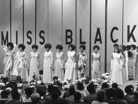 Contestants for the Miss Black America pageant line