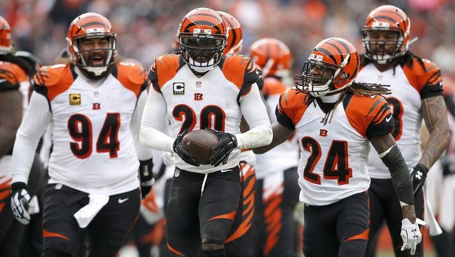 Many of the Cincinnati Bengals, including NFL interception leader Reggie Nelson, middle, need help in the Pro Bowl fan vote.