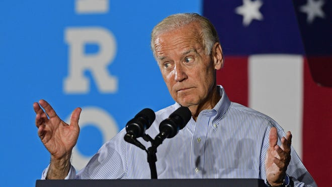 Vice President Joe Biden speaks at a campaign event for Democratic presidential candidate Hillary Clinton, Thursday, Sept. 1, 2016, in Cleveland.