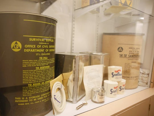 Items used in fallout shelters from the 1950s sit on