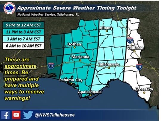 Severe storms could move across Tallahassee between 3 a.m. and 7 a.m.