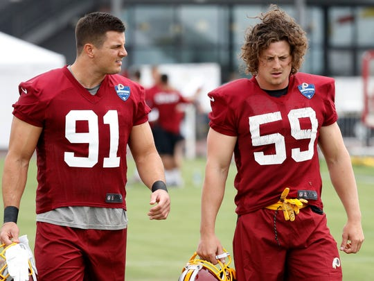 Zach Vigil (59) was with the Redskins in training camp,