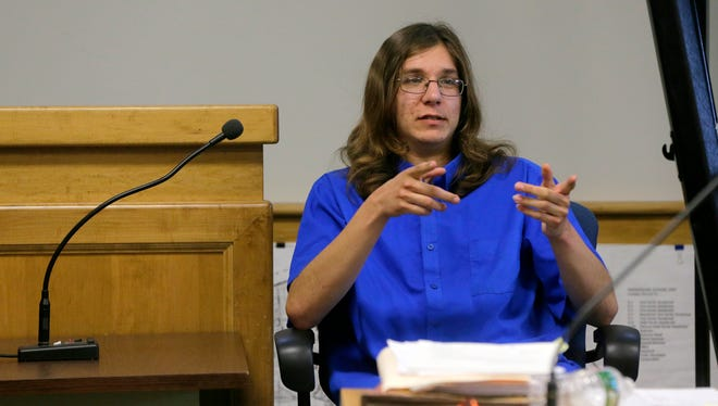 Parker Drake testifies during the trial of Nicholas Formica and Christopher Tilton, the two men accused of coaxing the autistic Howell man to jump off a jetty, before Judge Paul J. Capotorto in Manasquan Municipal Court in Manasquan, NJ Tuesday May 17, 2016.