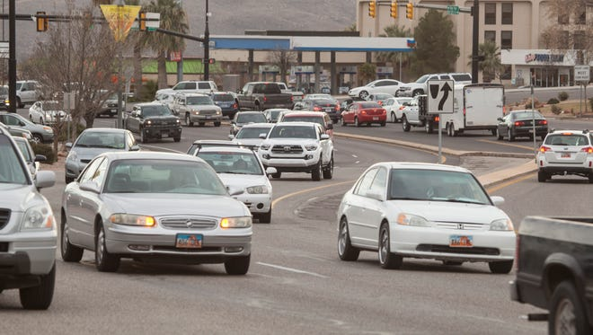 Commuters travel on Red Cliffs Drive during peak traffic hours Friday, Jan. 29, 2016. Representatives from surrounding cities prepare for the upcoming Dixie Regional Transportation Expo which will be held in February.