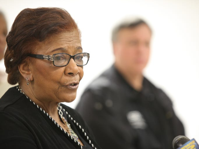 Mount Vernon Superintendent Judith Johnson speaks during a press conference on the racist incidents surrounding the boys basketball game with Mahopac at Mount Vernon Board of Education building on March 7, 2014.
