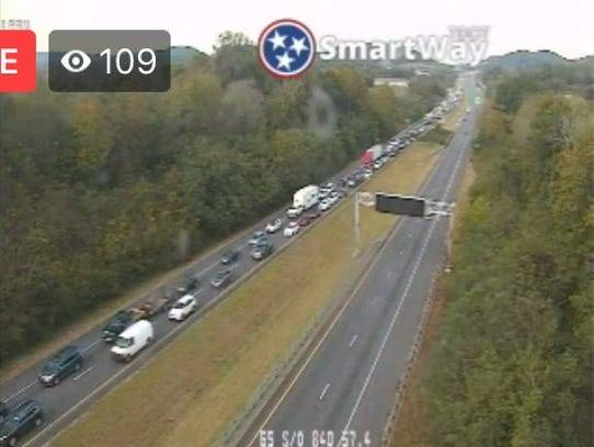 Crash on Interstate 65 near Spring Hill.