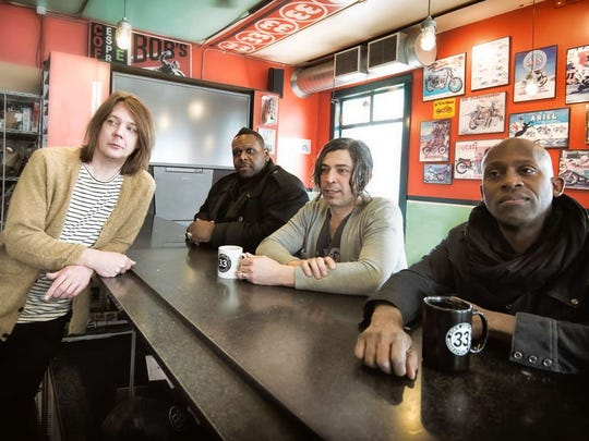 "Soul Asylum, from left, Dave Pirner (vocals, guitar), Michael Bland (drums), Justin Sharbono (guitar) and Winston Roye (bass), is touring to promote its new album, ""Change of Fortune."" The band shares a bill with Cracker at bergenPAC in Englewood on Sunday."