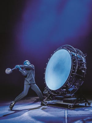 Percussion is a key ingredient of a Blue Man Group performance.