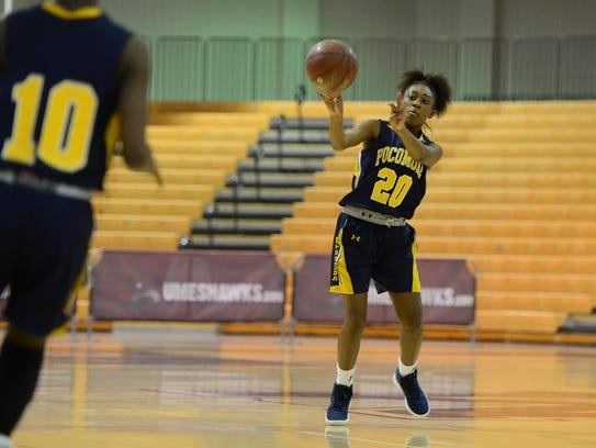 Pocomoke's Teirra Thomas passes the ball against Urbana during the Governor's Challenge in Princess Anne, Md.