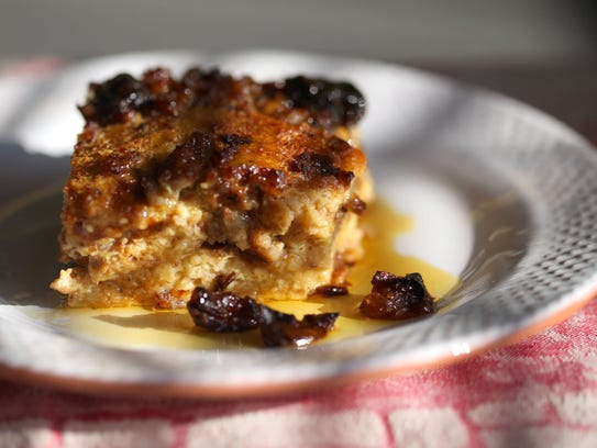 Raisin bread strata with sausage and dried plums.