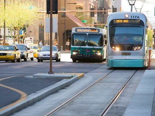 Valley Metro bus, light rail train