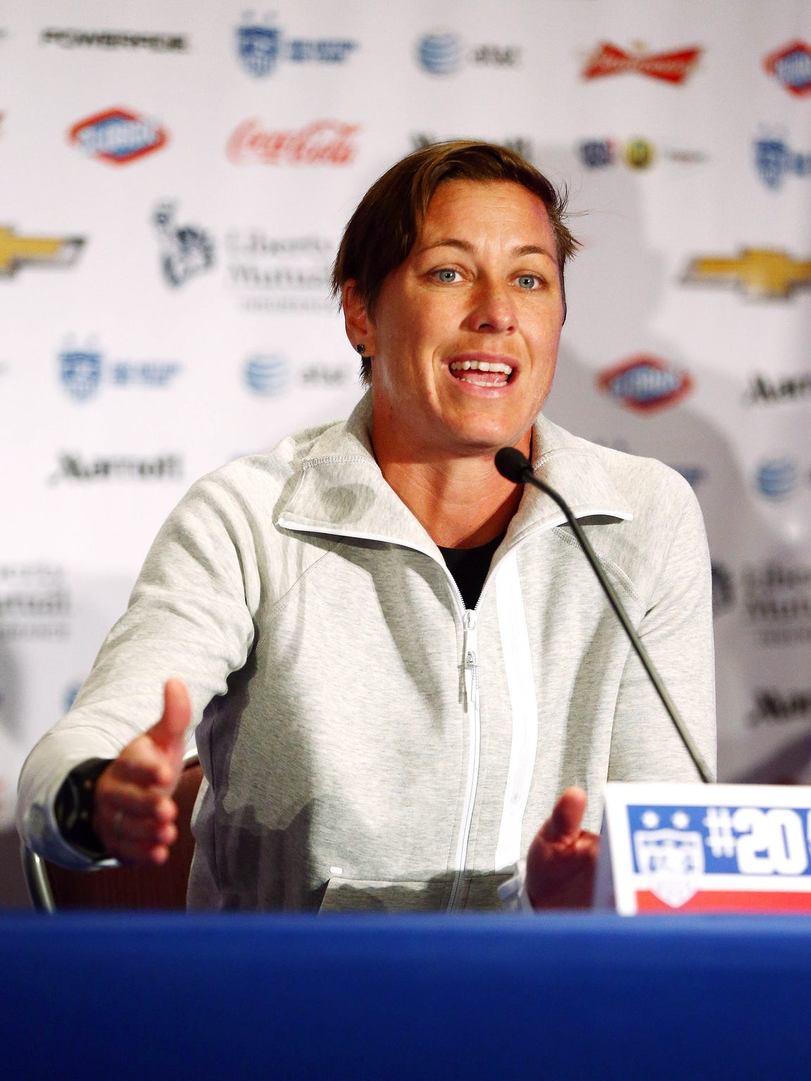 Abby Wambach addresses the media at the USA women's national soccer team media day May 27 in New York City.