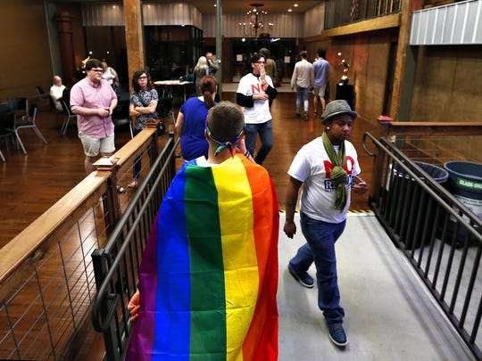 A volunteer leaves the No Repeal campaign's watch party on April 7, 2015, after it was announced that Springfield's ordinance forbidding discrimination on the basis of sexual orientation and gender identity had been repealed by voters.