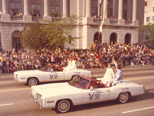 Joe B. Hall and Denny Crum, co-Grand Marshals of Kentucky