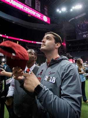 Alabama kicker Andy Pappanastos (12) signs autographs for fans during the Alabama Media Day for the College Football Playoff in Atlanta, Ga., on Saturday January 6, 2018. (Mickey Welsh / Montgomery Advertiser)