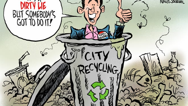 Mayor Ashton Hayward has knowingly deceived citizens by sending their recycling to the landfill.