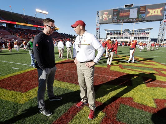 FILE - In this Nov. 19, 2016, file photo, Texas Tech head coach Kliff Kingsbury, left, talks with Iowa State head coach Matt Campbell before an NCAA college football game, Saturday, Nov. 19, 2016, in Ames, Iowa. The Cyclones, under second-year coach Matt Campbell, have won consecutive Big 12 games and already have their most overall wins since going 6-7 in 2012.  They face Texas Tech on Saturday .(AP Photo/Charlie Neibergall, File)