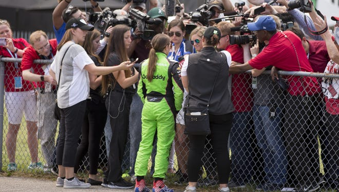 Danica Patrick speaks with the media after her crash on Sunday.