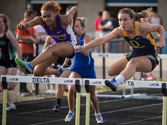 Central's Aaliyah Barnes and Delta's Allison McCrady race neck-and-neck at the Delta Sectional earlier this season. After nearly walking away from the sport, Barnes is headed to state on Saturday.