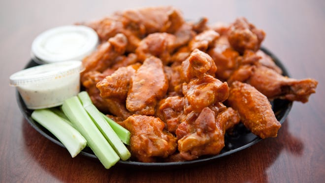Hot wings are on fire at Barro's Pizza.
