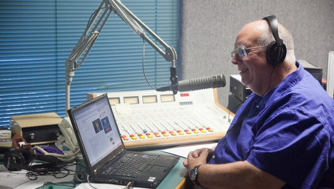 Bryan Hyde works on his morning show with Dr. T (Tim Nesmith). He is happy to back on the local station and looks forward to the future of Cherry Creek radio.