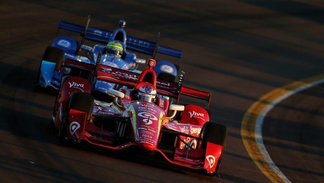 Apr 2, 2016; Avondale, AZ, USA; Verizon IndyCar Series driver Scott Dixon during the Phoenix Grand Prix at Phoenix International Raceway. Mandatory Credit: Mark J. Rebilas-USA TODAY Sports