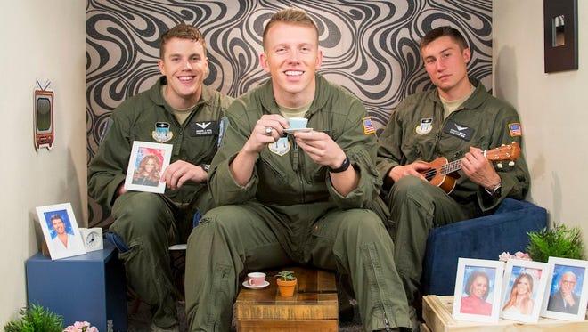 2nd Lt. Zach Hevel, left, 2nd Lt. Ryan Douglas, center, and Cadet 1st Class Jared Bogdan.