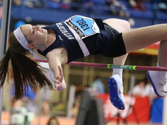 Jenna Rogers, of Rutherford, on her way to a record day at the AT&T Coaches Hall of Fame Invitational at The Armory Track Center in New York on Dec. 16, 2017. Rogers set a Bergen County record in the high jump. Less than three weeks later, Rogers was invited to participate in the women's high jump competition at the Millrose Games on Feb. 3, 2018 at The Armory.