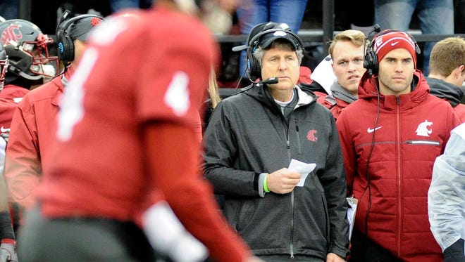 Washington State Cougars head coach Mike Leach looks on during a game against the Stanford Cardinal at Martin Stadium. Mandatory