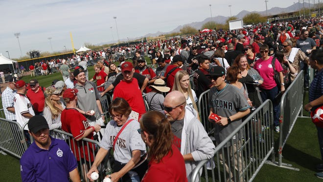 Fans line up for autographs from Diamondback players during the Diamondbacks Fan Fest at Salt River Fields at Talking Stick on February 17, 2018.