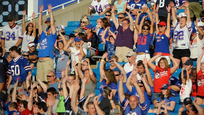 Fans cheer during the second half of a preseason game between the Buffalo Bills and the Tampa Bay Buccaneers Aug. 23 at Ralph Wilson Stadium.