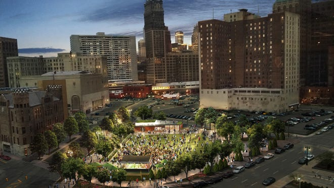 Rendering of the park. DTE plans to ask the public for suggested names for it soon. Groundbreaking is expected later this summer, and the park should be completed by the end of the year.