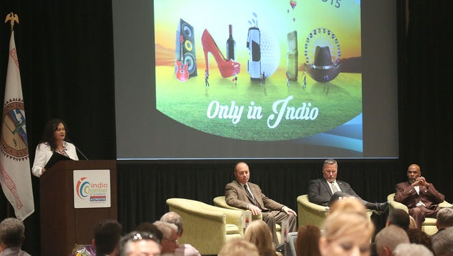Indio mayor Lupe Ramos Watson gives the Indio State of the City address at the Fantasy Springs Convention Center, Friday, October 16, 2015.