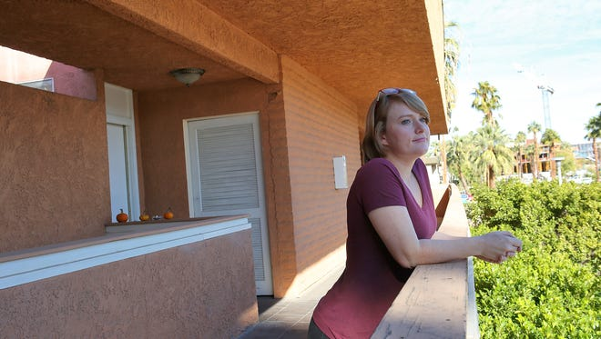 Roxanne Terwelp pays $1,000 for a two bedroom 1,400 square foot apartment in downtown Palm Springs.