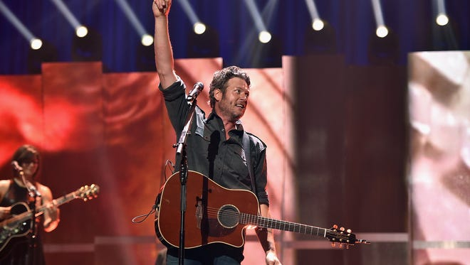 Musician Blake Shelton performs onstage at the 2015 iHeartRadio Music Festival at MGM Grand Garden Arena on September 19, 2015 in Las Vegas. Shelton is set to headline the Back Porch Revival in Iowa City on Aug. 27.