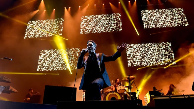 Brandon Flowers of The Killers performs onstage during the grand opening of T-Mobile Arena on April 6, 2016 in Las Vegas.