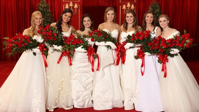 Debutantes, left to right: Leslie Elizabeth Fagan, Danielle Rachel Ostos, Sophie Redwine Susser, Avery Kay Cohen, Morgan Victoria Weeks, Frances Marie Williamson, Roselyn Elise Valls