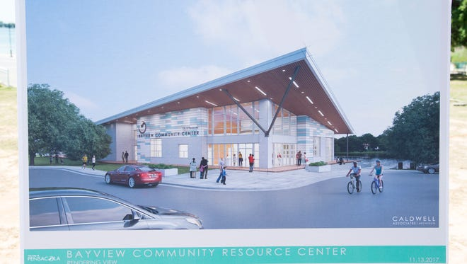 An artist rendering of the new Bayview Community Resource Center displayed at the ground breaking ceremony in Pensacola on Monday, May 7, 2018.