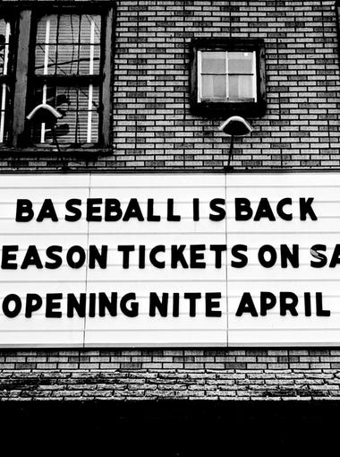 Permanent reminder that Nashville Vols baseball is back in town is posted on the marquee at Sulphur Dell Jan 5, 1963, after taking a year off last season. Indications are that people are glad of it happen every hour in the offices behind the sign.