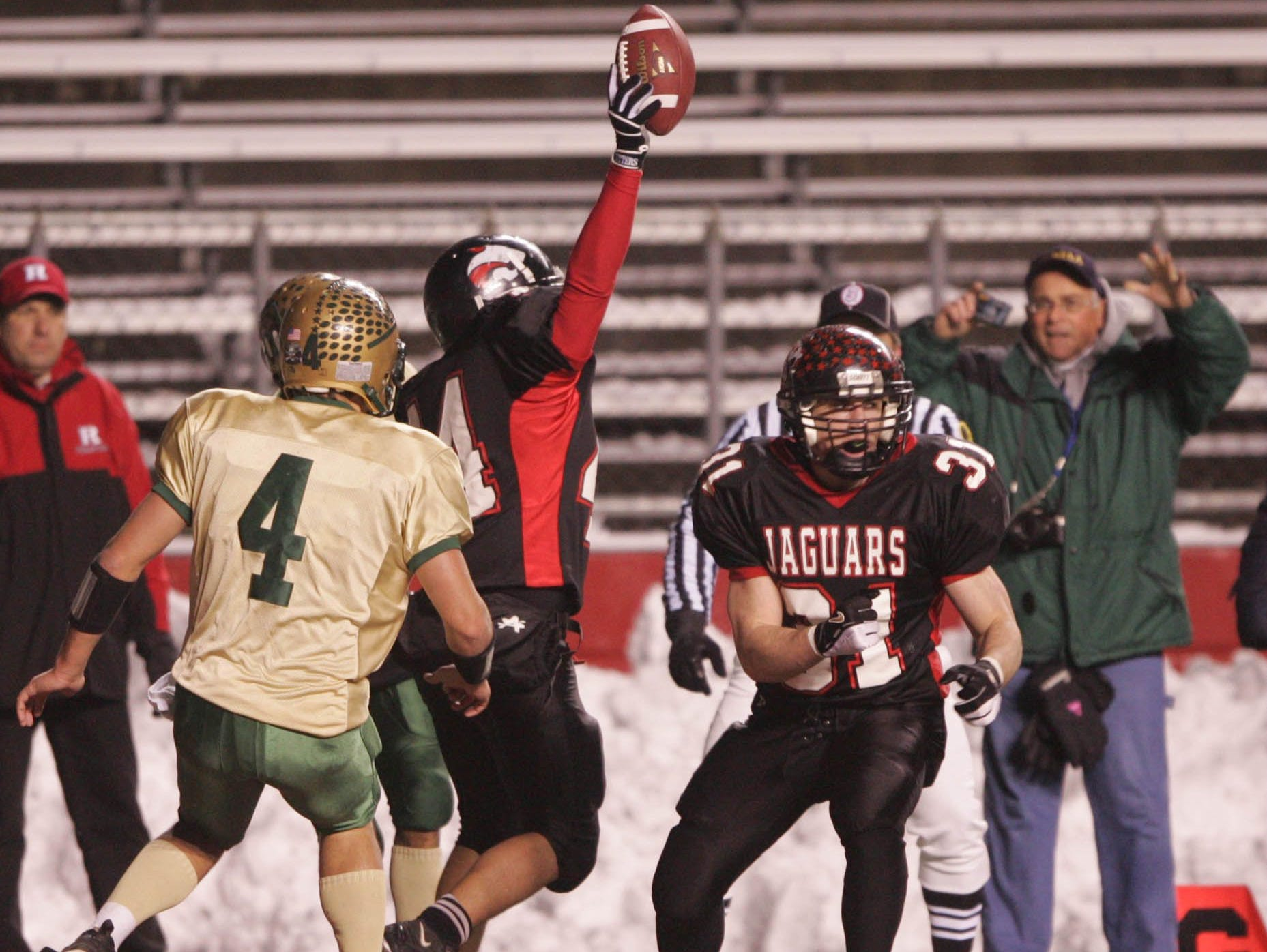 Jackson Memorial's Joe Reggio catches the game winning touchdown pass on the final play to beat Brick Memorial in the 2005 CJ Group IV championship game at Rutgers.