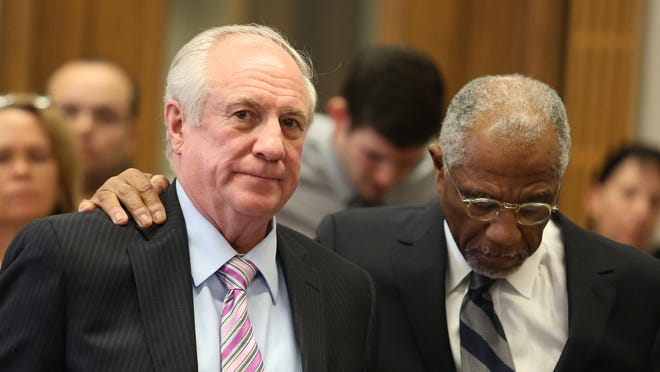 Vernon Huser, 66, left, was found guilty today of first-degree murder in the death of his ex-wife's lover. Huser's attorney, Alfredo Parrish, is at right.