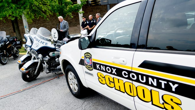 A Knox County Schools vehicle is seen during a press conference on new safety measures being implemented across Knox County Schools at South Doyle Middle School in Knoxville, Tennessee on Thursday, July 27, 2017. Officials presented information about enhanced bus safety, school zone safety and school security measures beginning this upcoming school year.