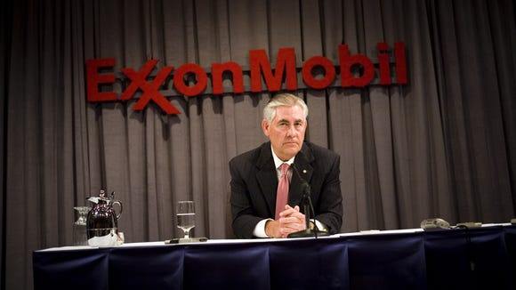 Tillerson speaks at a news conference after the ExxonMobil